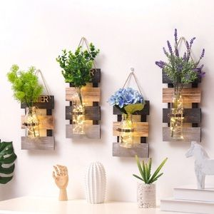 Other - Rustic Farmhouse Hanging Wood Plank Glass Vase